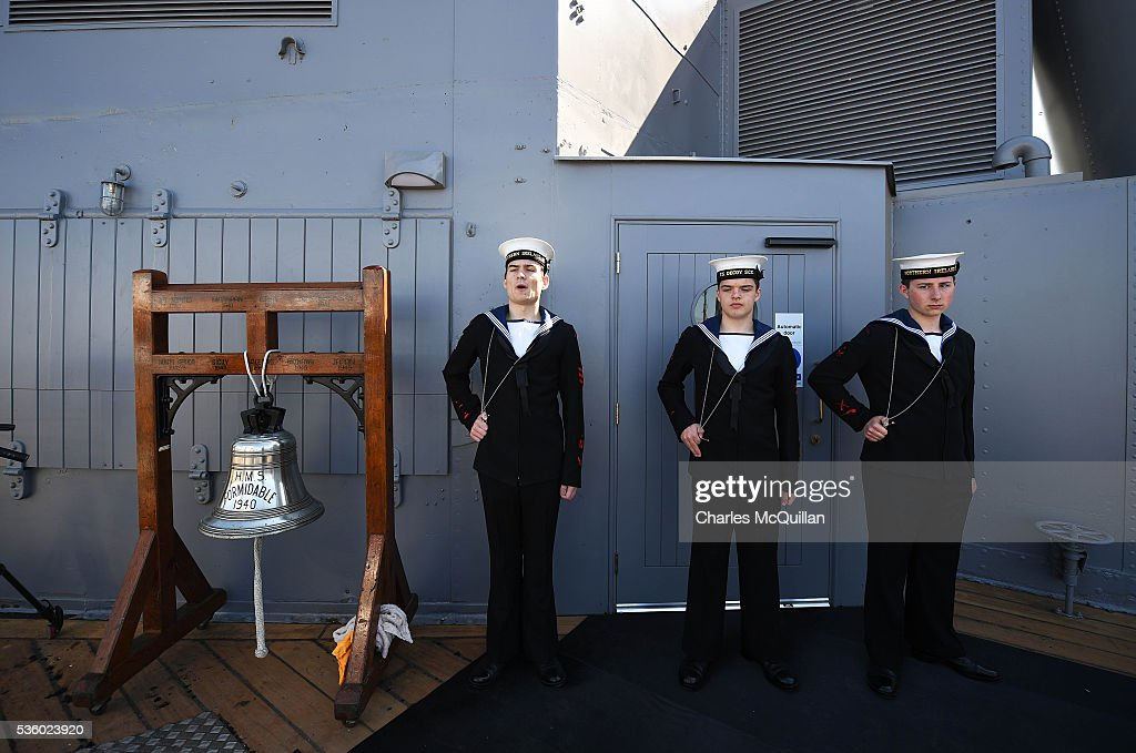 The commemorative service takes place at HMS Caroline on May 31, 2016 in Belfast, Northern Ireland. HMS Caroline is the last surviving ship from the 1916 Battle of Jutland and today hosted a special all island commemoration service ahead of it's reopening to the public tomorrow after a major restoration project. The Battle of Jutland is remembered as the largest and deadliest naval battle of World War One, where more than 6,000 British and more than 2,500 German personnel lost their lives in the 36-hour Battle off the coast of Denmark.