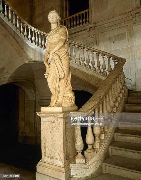 The Commerce Allegorical sculpture by Salvador Gurri Corominas at the foot of the staircase of honor at Casa Llotja de Mar, Marble, Barcelona,...