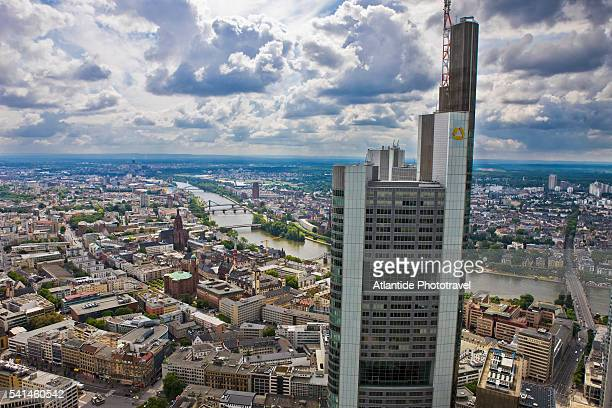 The Commerzbank Tower, the city and the river Main from the Main Tower, Frankfurt, Germany