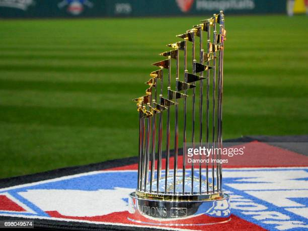 The Commissioner's Trophy stands on the MLB Network set prior to Game 7 of the World Series between the Chicago Cubs and Cleveland Indians on...