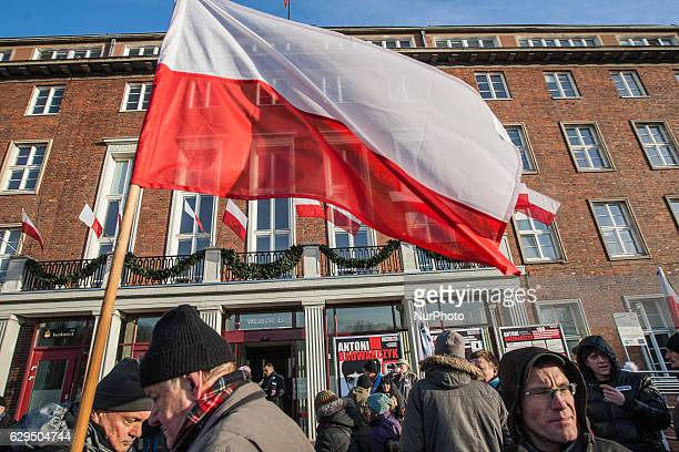 The Committee for the Defence of Democracy protest outside the Pomeranian Voivodeship Authorities building in Gdansk Poland on 13 December 2016 The...