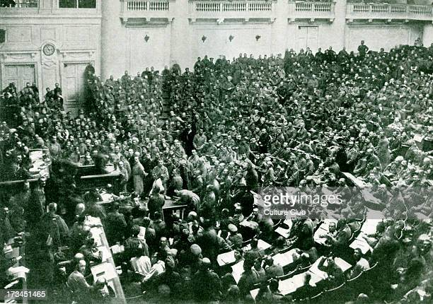 The Committee of Workers' and Soldiers' Deputies meeting in the new soviet in St Petersburg immediately after the Russian Revolution After a...