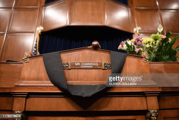 The Committee on Oversight and Reform room is adorned in black for Chairman Elijah Cummings in Washington DC on October 17 2019 Cummings who was at...