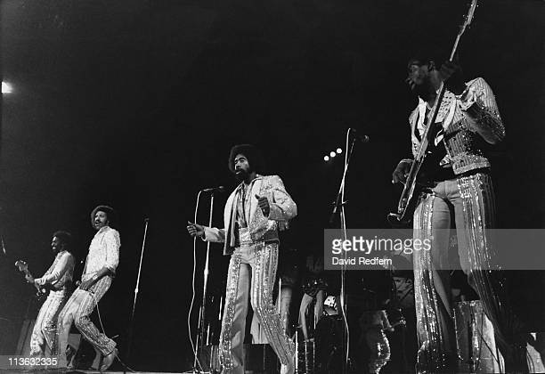 The Commodores on stage during a live concert performance in London England Great Britain circa 1979