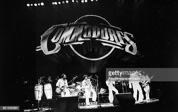 The Commodores six man group musicians and singers on stage 1975