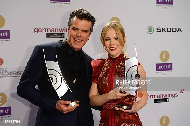 The Common Linnets poses with her prize at the Echo Award 2015 winners board on March 26 2015 in Berlin Germany