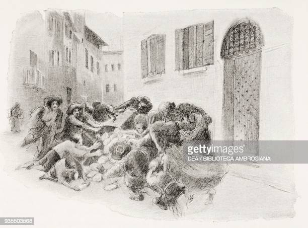 The common people pouncing on the bread given to the laborer by a baker who manages to escape their aggression, illustration by Gaetano Previati ,...