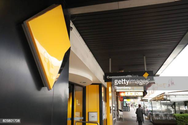 The Commonwealth Bank of Australia logo is displayed at a branch in Sydney Australia on Thursday Aug 3 2017 Commonwealth Bank Australia's largest...