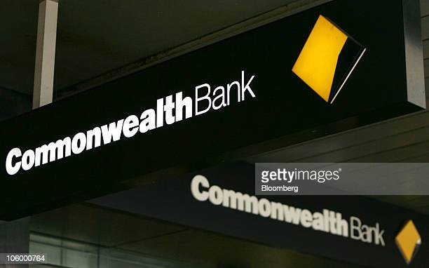 The Commonwealth Bank of Australia logo is displayed on a bank branch in Sydney Australia on Monday Oct 25 2010 Three of Australia's four largest...