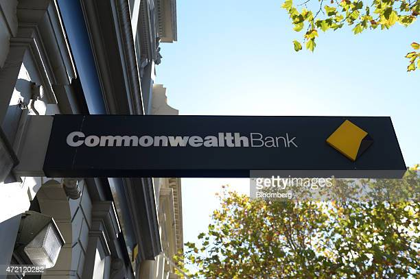 The Commonwealth Bank of Australia logo is displayed outside a bank branch in Melbourne Australia on Friday May 1 2015 Commonwealth Bank is the...