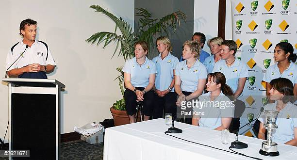 The Commonwealth Bank Southern Stars womens cricket team listen to the comments of Adam Gilchrist at the press conference for the Australian team's...