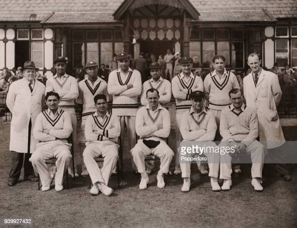 The Commonwealth cricket team before their match against Wolstenholmes' XI at Oxton cricket ground in Birkenhead near Liverpool 25th August 1957 Back...
