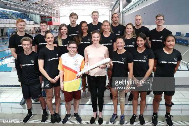 The Commonwealth Games aquatic team with Lauren Boyle at the Sir Owen Glenn Aquatic Centre during the Queens Baton Commonwealth Games Relay on...