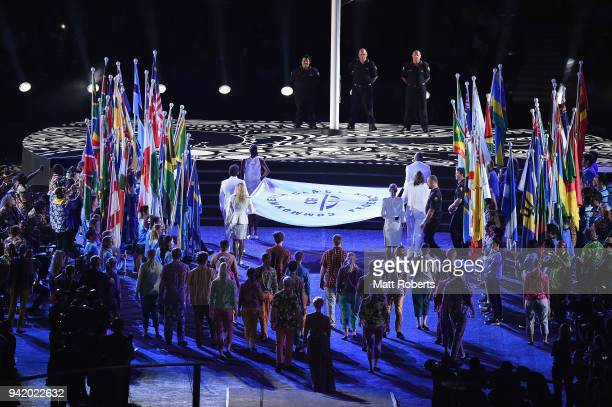 The Commonwealth Games Federation flag is seen during the Opening Ceremony for the Gold Coast 2018 Commonwealth Games at Carrara Stadium on April 4...