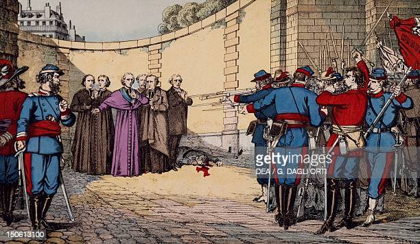 The Communards executing Archbishop Georges Darboy Archbishop of Paris Abbe of Duguerry curate of the Madeleine the reverend fathers Allard Clerc and...