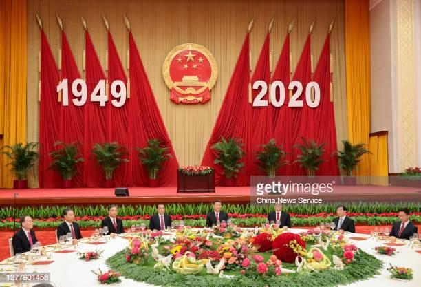 The Communist Party of China and state leaders Xi Jinping , Li Keqiang , Li Zhanshu , Wang Yang , Wang Huning , Zhao Leji , Han Zheng and Wang Qishan...