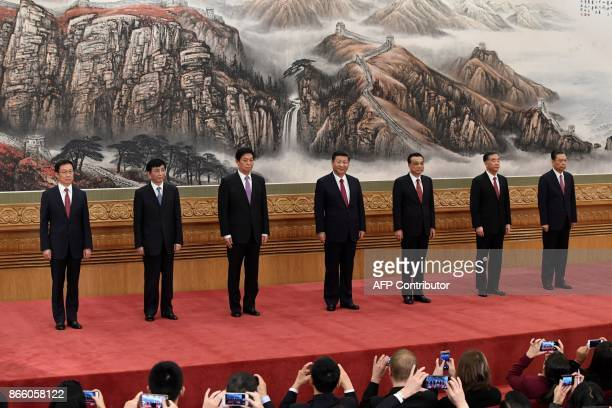 The Communist Party of China's new Politburo Standing Committee, the nation's top decision-making body Han Zheng, Wang Huning, Li Zhanshu, Chinese...