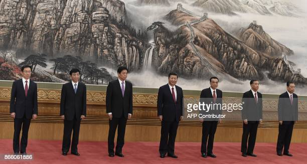 The Communist Party of China's new Politburo Standing Committee the nation's top decisionmaking body Han Zheng Wang Huning Li Zhanshu Chinese...