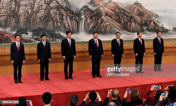 The Communist Party of China's new Politburo Standing Committee the nation's top decisionmaking body Han Zheng Wang Huning Li Zhanshu Chinese...