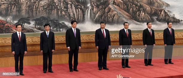 The Communist Party of China's new Politburo Standing Committee the nation's top decisionmaking body Han Zheng Wang Huning Li Zhanshu Xi Jinping Li...