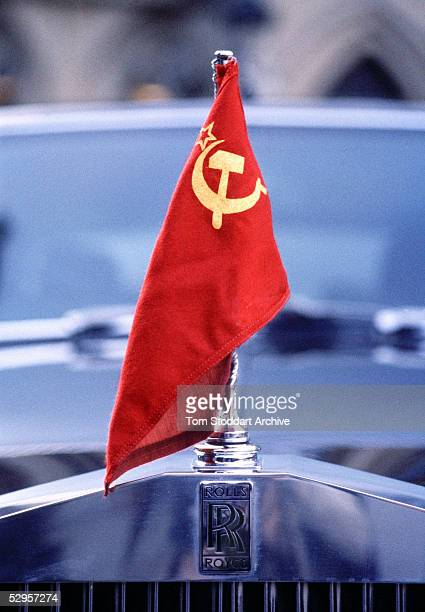 The communist red flag of the former Soviet Union flies on the bonnet of a Rolls Royce which was used by President Mikail Gorbachov on a state visit...