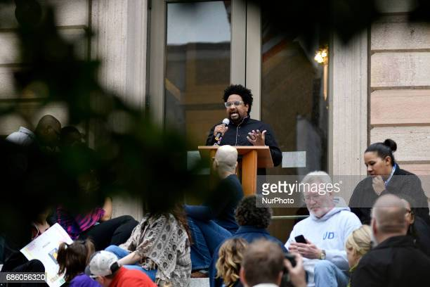 The community gathers in Lancaster PA on May 20 2017 to protest the plans of a cross lighting of a Maryland based Ku Klux Klan chapter in nearby...