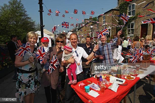 The community of Marple Bridge enjoy their royal street party held in the village of Marple Bridge on April 29 2011 in Stockport United Kingdom The...