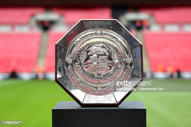 The Community Shield trophy is seen prior to the FA Community Shield match between Liverpool and Manchester City at Wembley Stadium on August 04,...