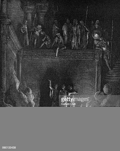 The companions of the prophet Daniel Shadrach Meshach amd Abednego are thrown into the fiery furnace by King Nebuchadnezzar illustration by Gustave...