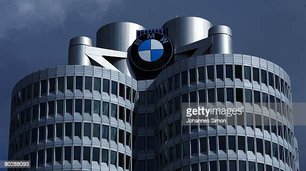 The company emblem of car producer BMW is seen at BMW headquarter after the announcements of the company results 2007 on March 18 2008 in Munich...
