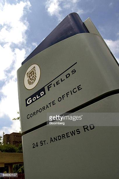 The company logo for Gold Fields Ltd is displayed outisde their headquarters in Parktown Johannesburg South Africa on Wednesday Dec 19 2007 South...