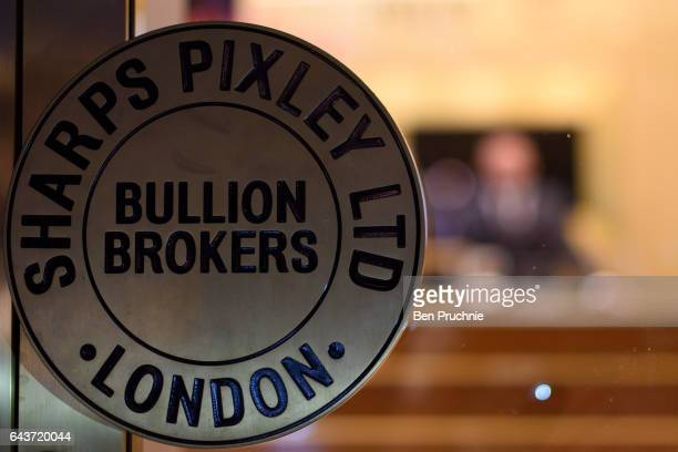 The company logo is displayed on the door handle of Sharps Pixley Bullion Brokers on December 15 2015 in London England The brand established in 1778...