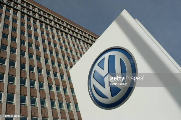 The company logo of automaker Volkswagen AG stands outside Volkswagen headquarters on March 12, 2019 in Wolfsburg, Germany. Volkswagen CEO Herbert...