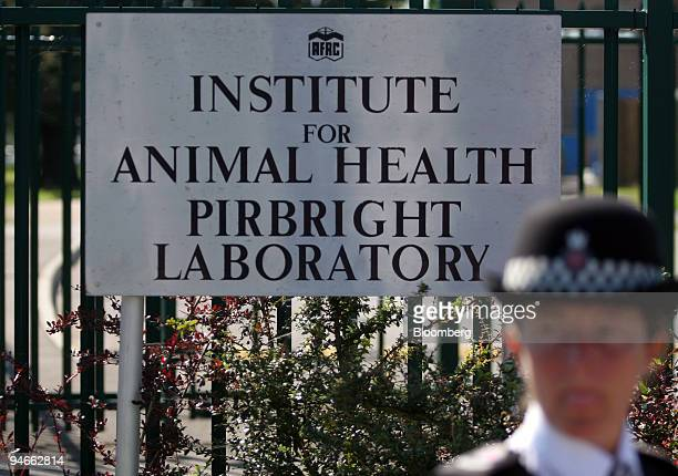The Company logo of the Institute for Animal Health laboratory on the main entrance gates at Pirbright Surrey UK on Sunday Aug 2007 The UK government...