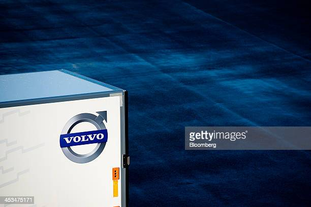 The company logo sits on the side of a Volvo heavy goods truck trailer outside the Volvo AB demo center in Gothenburg Sweden on Wednesday Dec 4 2013...