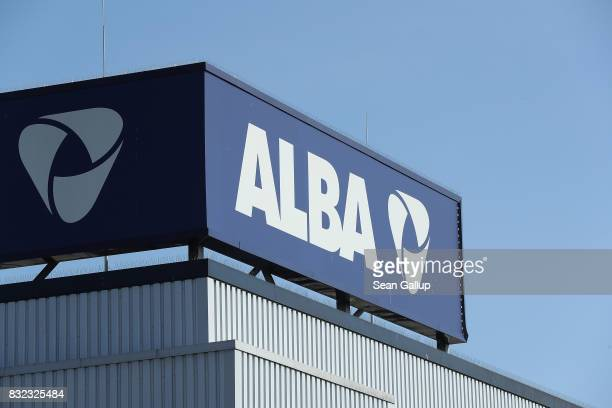 The company logo stands at the ALBA sorting center for the recycling of packaging materials on August 15 2017 in Berlin Germany The facility sorts...