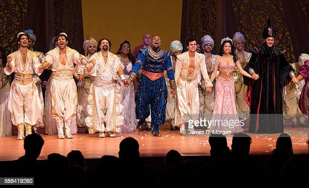 The company of Disney's Aladdin take their opening night curtain call at the Opening Night of Aladdin at the Capitol Theatre on August 11 2016 in...