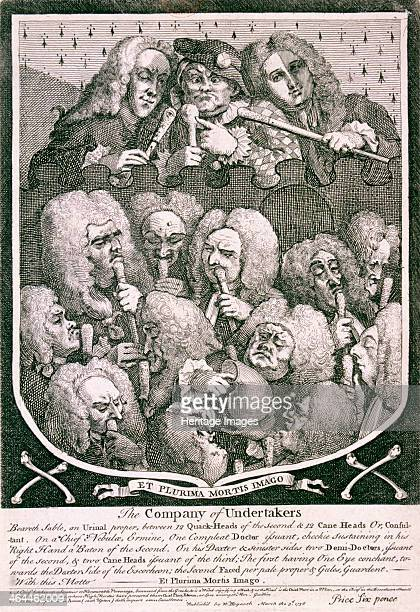 'The Company of Undertakers' 1736 The heads of some familiar quacks pictured within a coat of arms The quacks depicted include Mrs Sarah Mapp John...