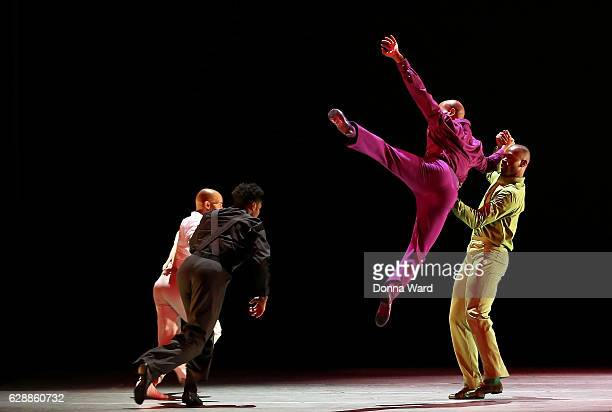 The Company perform during Alvin Ailey American Dance Theater rehearsal of 'rEvolution Dream' at New York City Center on December 9 2016 in New York...