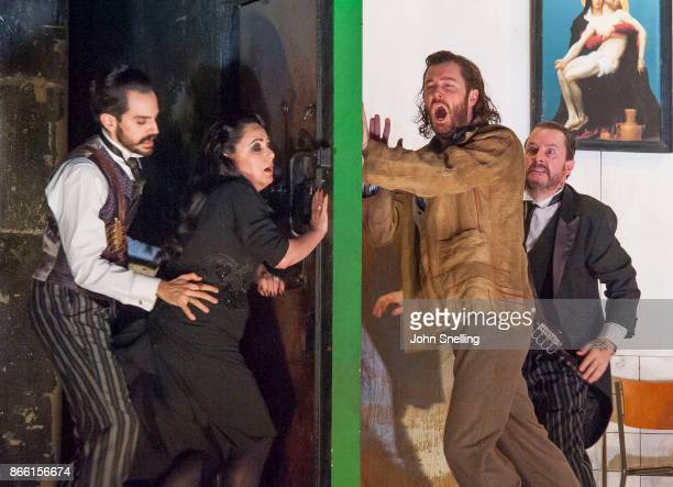 The Company perform on stage in English National Opera's 'Rodelinda' photocall at The London Coliseum on October 24 2017 in London England