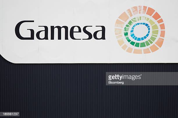The company's logo sits on display outside the Gamesa Corp Tecnologica SA factory in Aoiz Spain on Tuesday Oct 22 2013 Gamesa Spain's largest...