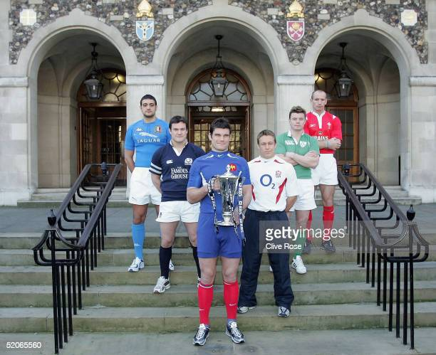 The competing 6 nations captain's Marco Bortolami of Italy Gordon Bulloch of Scotland Fabien Pelous of France Jonny Wilkinson of England Brian...