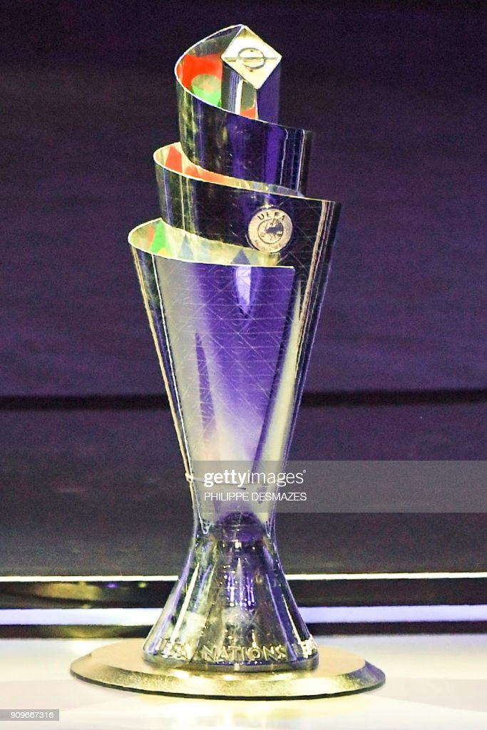 The competition's trophy is displayed during the UEFA Nations League draw at the headquarters of the European football organisation in Lausanne, on January 24, 2018. / AFP PHOTO / Philippe DESMAZES