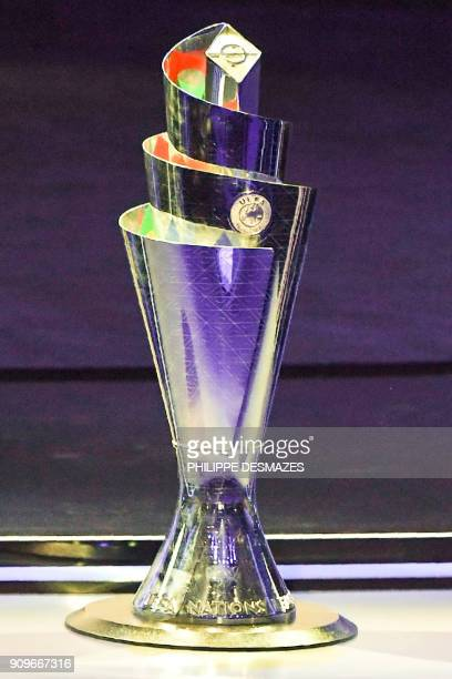 The competition's trophy is displayed during the UEFA Nations League draw at the headquarters of the European football organisation in Lausanne on...
