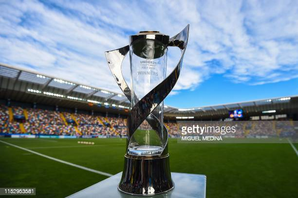The competition's winners trophy is pictured prior to the final match of the UEFA U21 European Football Championships between Spain and Germany on...