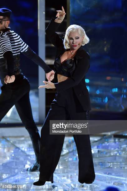 The competitor Carmen Russo imitates the singer Madonna during the broadcast Tale e Quale Show at the RAI studios Dear. Rome , October 23rd, 2020