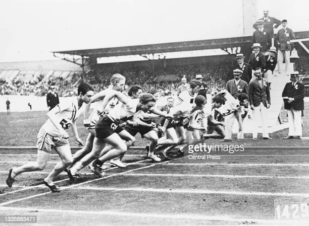 The competitors at the start of the final of the women's 800-metres event of the 1928 Summer Olympics, held at the Olympisch...