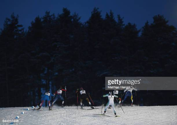 The competitors race in the Women's 14KM Cross Country Sprint fourth quarter final during the FIS Nordic World Ski Championships on February 23 2017...