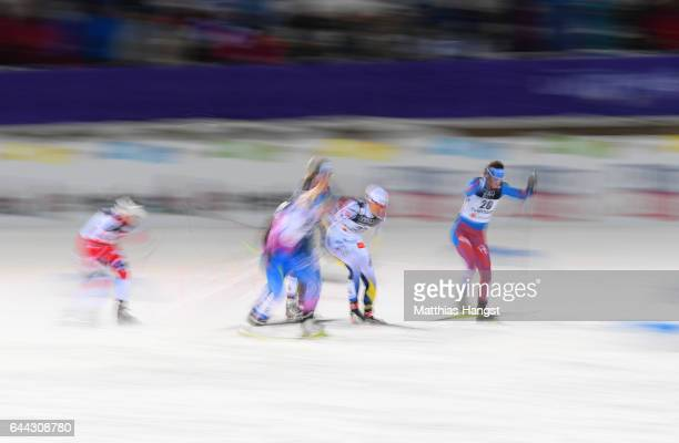 The competitors race in the Women's 14KM Cross Country Sprint second semi final during the FIS Nordic World Ski Championships on February 23 2017 in...