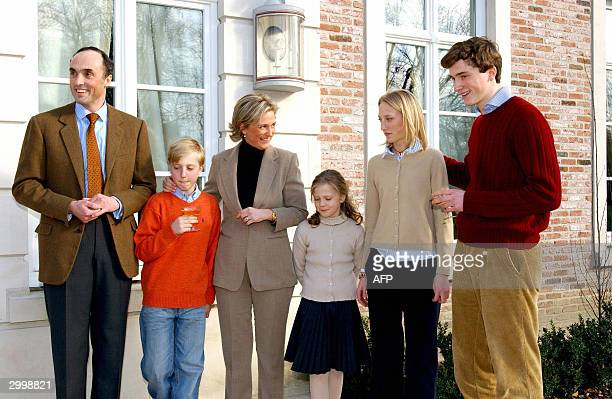 The complete family poses for a group picture as Prince Amedeo celebrates his 18th birthday, 20 February 2004, in Brussels. FROM L-R Prince Lorenz,...